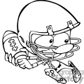 black and white football player running  gif, png, jpg, eps, svg, pdf