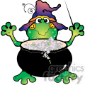 Halloween Frog Witch Cauldron