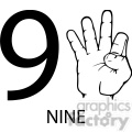 ASL sign language 9 clipart illustration worksheet