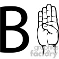 ASL sign language B clipart illustration worksheet
