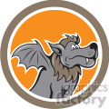 kludde wolf bat wings side in circle shape  gif, png, jpg, eps, svg, pdf