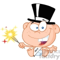 Royalty Free RF Clipart Illustration New Year Baby Cartoon Character
