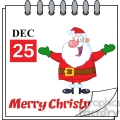Royalty Free RF Clipart Illustration Christmas Holiday Calendar With Jolly Santa Claus With Open Arms