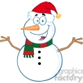 Royalty Free RF Clipart Illustration Happy Snowman Cartoon Mascot Character With Open Arms