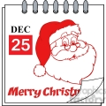 Royalty Free RF Clipart Illustration Christmas Holiday Calendar With Red Classic Santa Claus Head