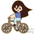Girl Bike cartoon character illustration