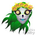 day of the dead skull illustration with green hair  gif, png, jpg, eps, svg, pdf