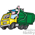 garbage truck driver wave iso  gif, png, jpg, eps, svg, pdf