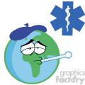Sick Planet Earth Character Wearing an Ice Pack,a Thermometer Stuck In His Mouth In Red Cross