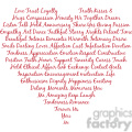 heart shape words of love typography