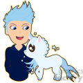 Unicorn and Boy cartoon character vector image