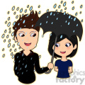 Umbrella Couple cartoon character vector image