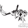 black and white Elk with broken antler