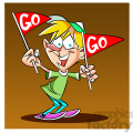 boy holding go flags for support  gif, png, jpg, eps, svg, pdf
