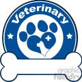 Illustration Veterinary Red Circle Label Design With Love Paw Dog, Cross And Bone Under Text
