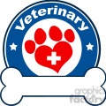Royalty Free RF Clipart Illustration Veterinary Blue Circle Label Design With Love Paw Print,Cross And Bone Under Text