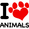 Royalty Free RF Clipart Illustration I Love Animals Text With Red Heart Paw Print