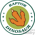 8860 Royalty Free RF Clipart Illustration Dinosaur Paw With Claws Green Circle Logo Design With Text Vector Illustration Isolated On White Background
