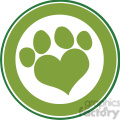 royalty free rf clipart illustration love paw print green circle banner design  gif, png, jpg, eps, svg, pdf