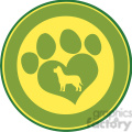 illustration love paw print green circle banner design with dog silhouette  gif, png, jpg, eps, svg, pdf
