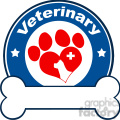 Royalty Free RF Clipart Illustration Veterinary Blue Circle Label Design With Love Paw Dog, Cross And Bone Under Text