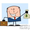 royalty free rf clipart illustration winking businessman with briefcase holding a money bag cartoon character on background gif, png, jpg, eps, svg, pdf