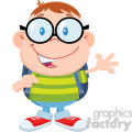 Royalty Free RF Clipart Illustration Happy Geek Boy Waving Flat Design