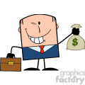 royalty free rf clipart illustration winking businessman with briefcase holding a money bag cartoon character gif, png, jpg, eps, svg, pdf