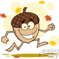 Royalty Free RF Clipart Illustration Happy Acorn Cartoon Mascot Character Running With Fall Leaves Background