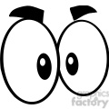 Royalty Free RF Clipart Illustration Black And White Mad Cartoon Eyes