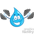 Royalty Free RF Clipart Illustration Smiling Water Drop Character Training With Dumbbells