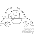 Royalty Free RF Clipart Illustration Black And White Businessman Driving Car To Work Cartoon Character