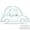 royalty free rf clipart illustration businessman driving car to work monochrome cartoon character  gif, png, jpg, eps, svg, pdf