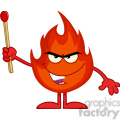 Royalty Free RF Clipart Illustration Evil Fire Cartoon Mascot Character Holding Up A Match Stick