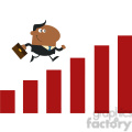 8293 royalty free rf clipart illustration african american manager running over growth bar graph flat design style vector illustration gif, png, jpg, eps, svg, pdf