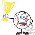 Happy Baseball Ball Holding First Prize Trophy Cup