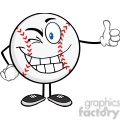 winking baseball ball with hat cartoon mascot character holding a thumb up  gif, png, jpg, eps, svg, pdf