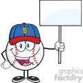 Happy Baseball Ball with hat Holding A Blank Sign