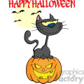 royalty free rf clipart illustration halloween cat on pumpkin cartoon character with text  gif, png, jpg, eps, svg, pdf