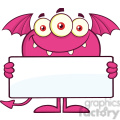 8919 Royalty Free RF Clipart Illustration Smiling Pink Monster Cartoon Character Holding A Blank Sign Vector Illustration Isolated On White vector clip art image