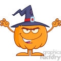Royalty Free RF Clipart Illustration Scaring Halloween Pumpkin With A Witch Hat vector clip art image