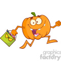 Royalty Free RF Clipart Illustration Goofy Halloween Pumpkin Cartoon Mascot Character Running With Bag Of Candy