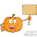 Royalty Free RF Clipart Illustration Funny Halloween Jackolantern Pumpkin Cartoon Mascot Character Holding A Wooden Board