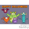 8941 Royalty Free RF Clipart Illustration Happy Funny Monsters Cartoon Characters Vector Illustration Greeting Card vector clip art image
