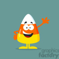 8871 Royalty Free RF Clipart Illustration Funny Candy Corn Flat Design Waving Vector Illustration With Bacground vector clip art image