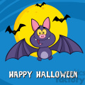 8947 Royalty Free RF Clipart Illustration Happy Vampire Bat Cartoon Character Flying Vector Illustration Greeting Card vector clip art image