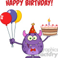8914 Royalty Free RF Clipart Illustration Cute Monster Holding Up A Colorful Balloons And Birthday Cake Vector Illustration Isolated On White With Text vector clip art image
