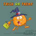 8900 Royalty Free RF Clipart Illustration Funny Witch Pumpkin Cartoon Character Running With A Halloween Candy Basket Vector Illustration Greeting Card vector clip art image