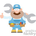 8548 Royalty Free RF Clipart Illustration Mechanic Cartoon Character Holding Huge Wrench And Giving A Thumb Up Flat Syle Vector Illustration Isolated On White