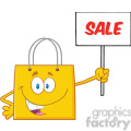 8760 Royalty Free RF Clipart Illustration Yellow Shopping Bag Cartoon Character Holding Up A Blank Sign With Text Vector Illustration Isolated On White